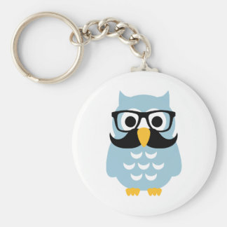 Hipster owl mustache basic round button key ring