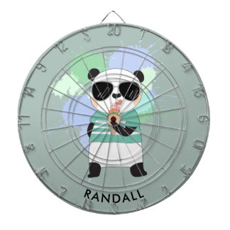 Hipster Panda Bear with Any Name Dart Boards