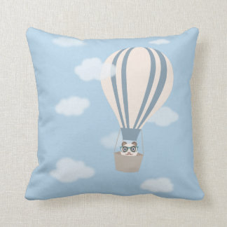 Hipster Panda on Hot Air Balloon Cushion