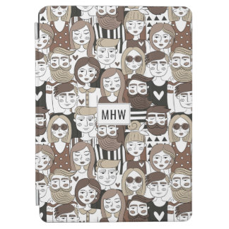 Hipster Pattern custom monogram device covers iPad Air Cover