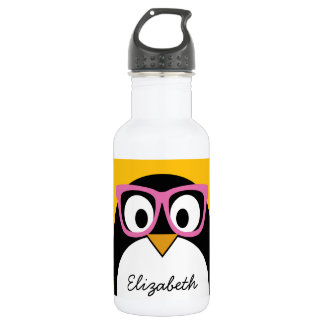 Hipster Penguin - Cute Cartoon Yellow Pink 532 Ml Water Bottle