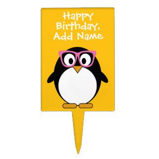 Hipster Penguin - Cute Cartoon Yellow Pink Cake Topper