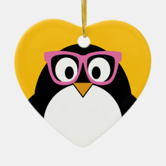 Hipster Penguin - Cute Cartoon Yellow Pink Christmas Ornament