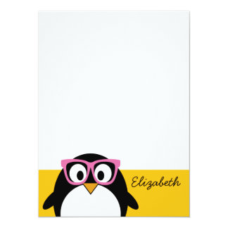 Hipster Penguin - Cute Cartoon Yellow Pink Personalized Announcement