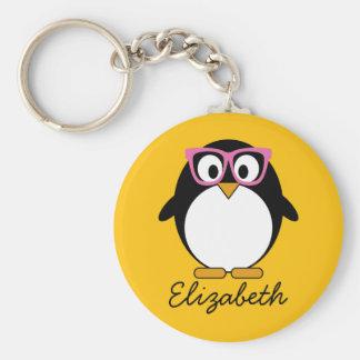 Hipster Penguin - Cute Cartoon Yellow Pink Key Ring