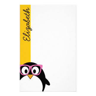 Hipster Penguin - Cute Cartoon Yellow Pink Personalised Stationery