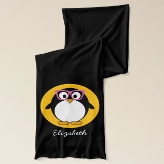 Hipster Penguin - Cute Cartoon Yellow Pink Scarf