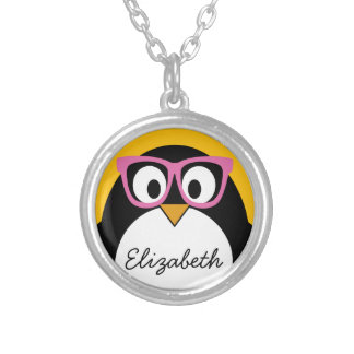 Hipster Penguin - Cute Cartoon Yellow Pink Silver Plated Necklace