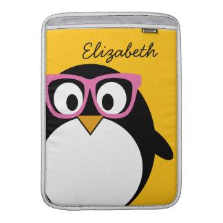 Hipster Penguin - Cute Cartoon Yellow Pink Sleeve For MacBook Air
