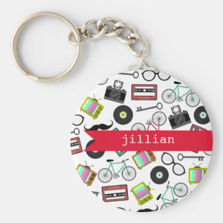 Hipster Personalized Keychain