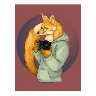 HIpster Photographer Fox Postcard
