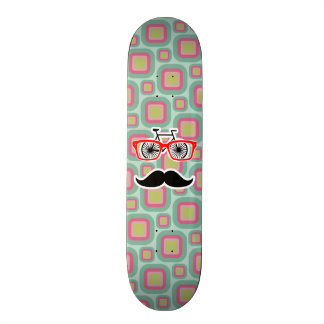 Hipster Pink and Mint Retro Mustache Skate Board
