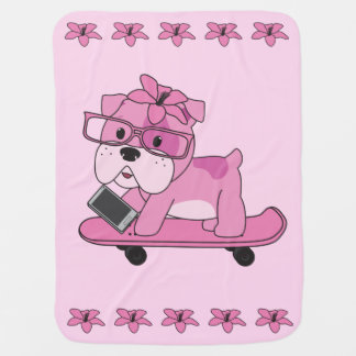 Hipster Pink Bulldog Pramblanket