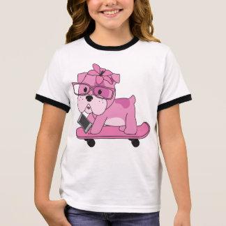 Hipster Pink Bulldog Ringer T-Shirt