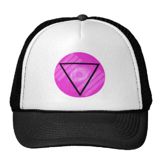 Hipster Pink Galaxy with Black Triangle Trucker Hats