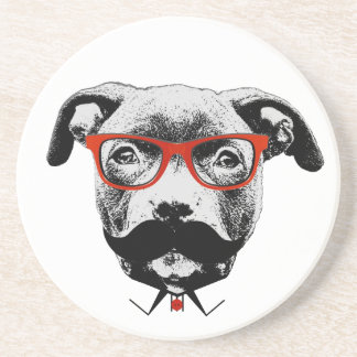 Hipster Pit Bull Terrier Coaster
