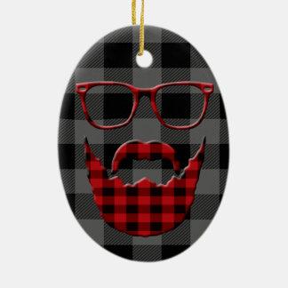 Hipster Plaid Beard Christmas Ornament