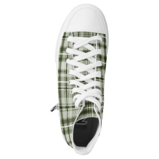 Hipster plaid green and white tartan pattern printed shoes