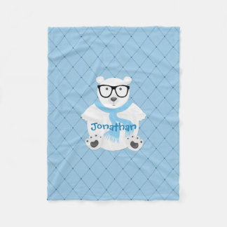 Hipster Polar Bear in Blue Scarf, Quilted Look Fleece Blanket