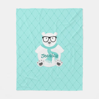 Hipster Polar Bear in Teal Scarf - Quilted Look Fleece Blanket