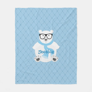 Hipster Polar Bear with Blue Scarf, Quilted Look Fleece Blanket