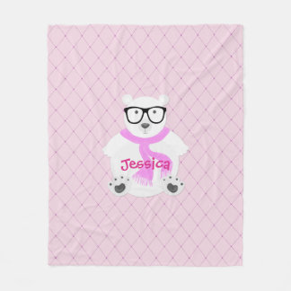 Hipster Polar Bear with Pink Scarf, Quilted Look Fleece Blanket