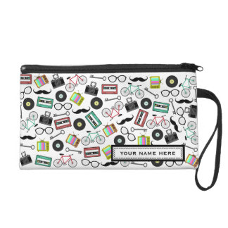 Hipster Print Personalized Wristlet