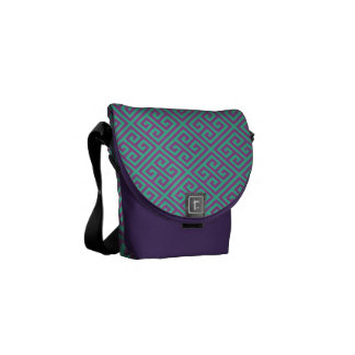 Hipster Purple and Teal Greek Key Pattern Courier Bag