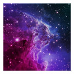 Hipster Purple Ombre Monkey Head Nebula Poster