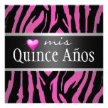 Hipster Quinceañera Zebra Personalized Announcement