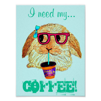 Hipster Rabbit with Coffee Poster