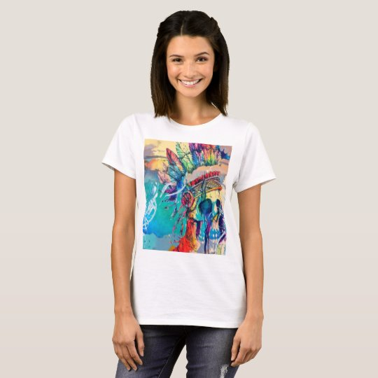 Hipster Rainbow Chief Skull print tshirt top