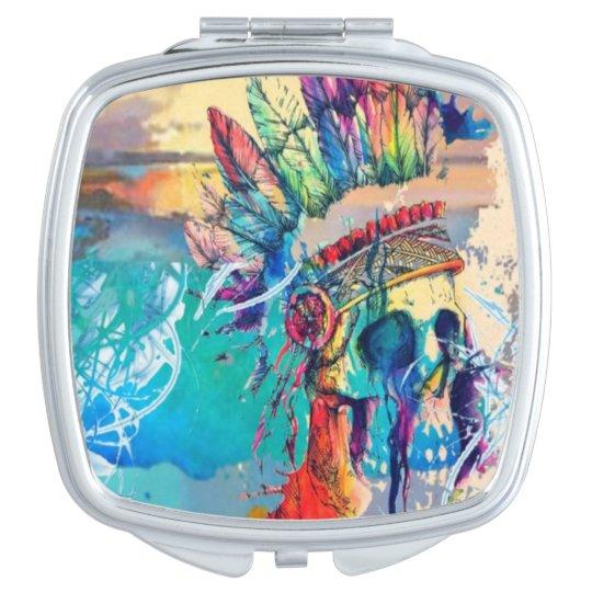 Hipster Rainbow Skull abstract cute print Vanity Mirror