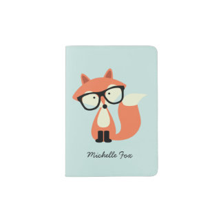Hipster Red Fox Passport Holder