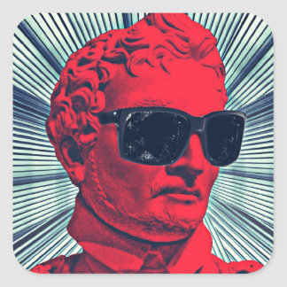 Hipster red statue square sticker
