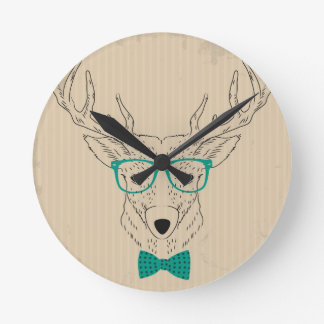 Hipster Reindeer Elk with glasses grungy Christmas Round Clock