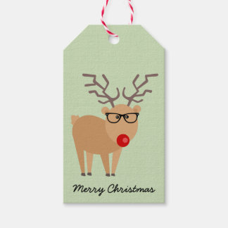 Hipster Reindeer Rustic Christmas Gift Tag