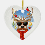 Hipster Reindeer Winter Holiday Edition Ceramic Heart Decoration