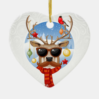 Hipster Reindeer Winter Holiday Edition Christmas Ornament