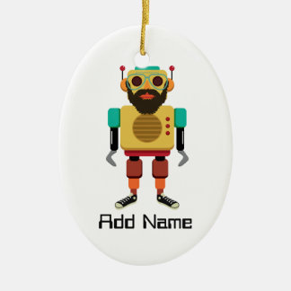 Hipster Retro Robot Christmas Ornament