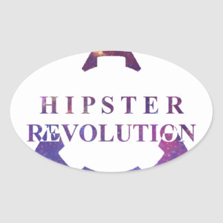 Hipster Revolution GEAR Oval Sticker
