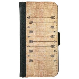Hipster rustic linen arrows iPhone 6 wallet case