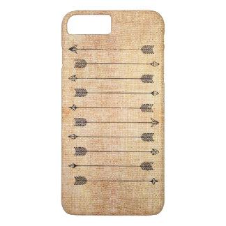 Hipster rustic linen arrows iPhone 8 plus/7 plus case