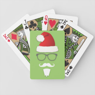 Hipster Santa Claus Bicycle Playing Cards