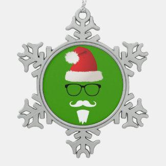 Hipster Santa Claus Snowflake Pewter Christmas Ornament