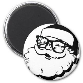 hipster santa 6 cm round magnet