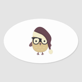 Hipster Santa Owl Oval Stickers
