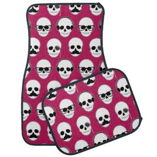 Hipster Skulls Pattern Pink Car Mat