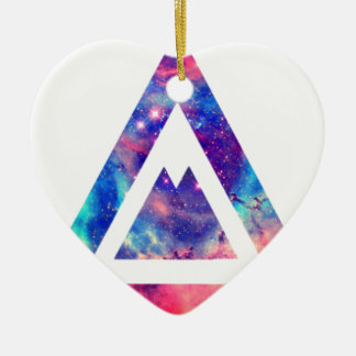 Hipster space triangle ceramic heart decoration