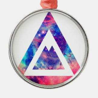 Hipster space triangle Silver-Colored round decoration